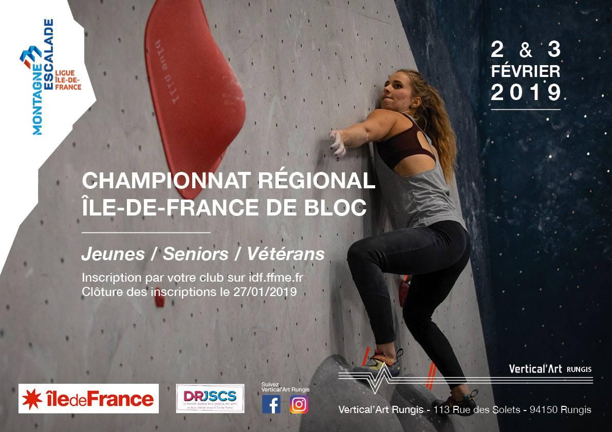 championnat régional île-de-france à Vertical'Art Rungis - jeunes seniors et vétérans