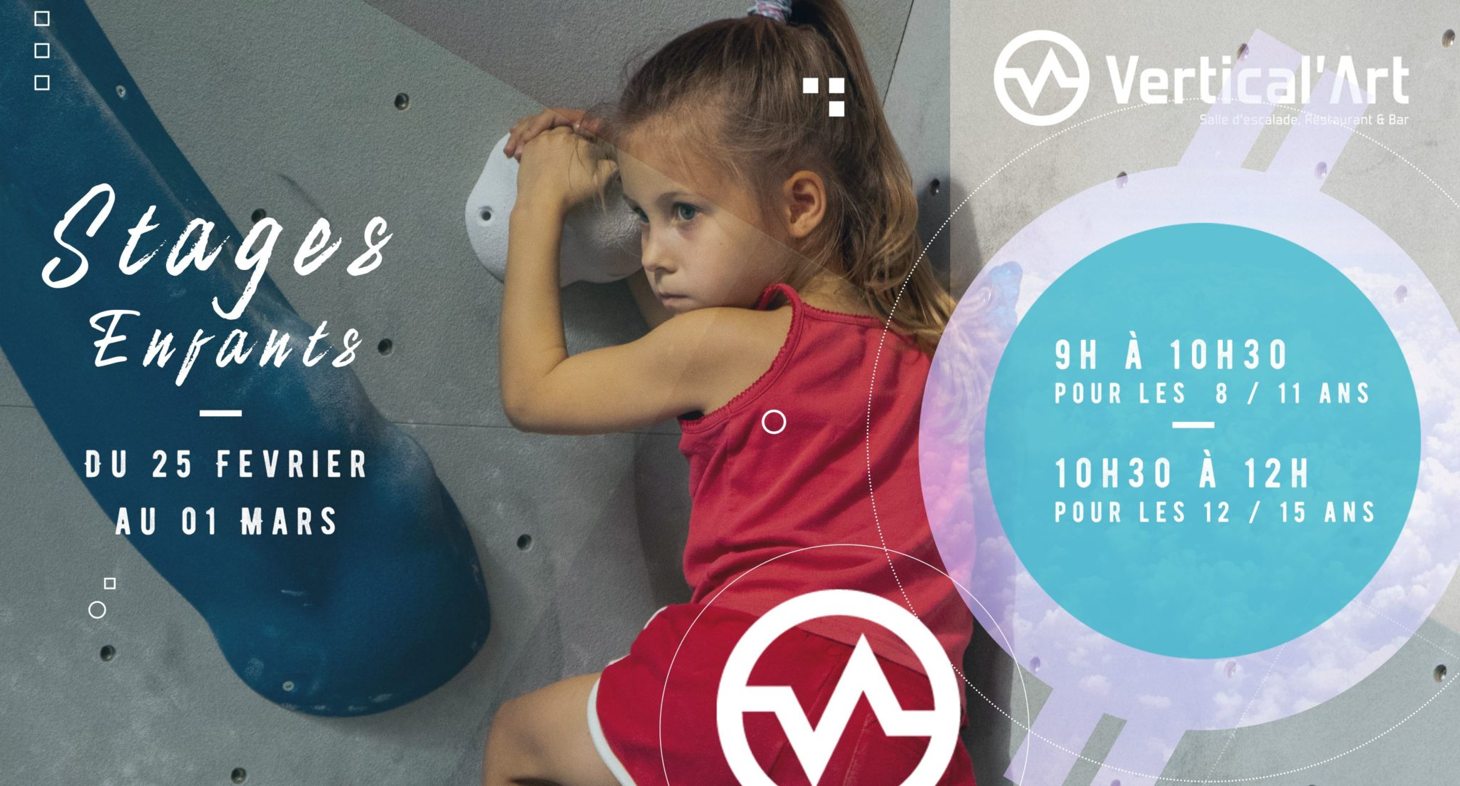 stage enfants et adolescents à Vertical'Art rungis - vacances - stage d'escalade de bloc