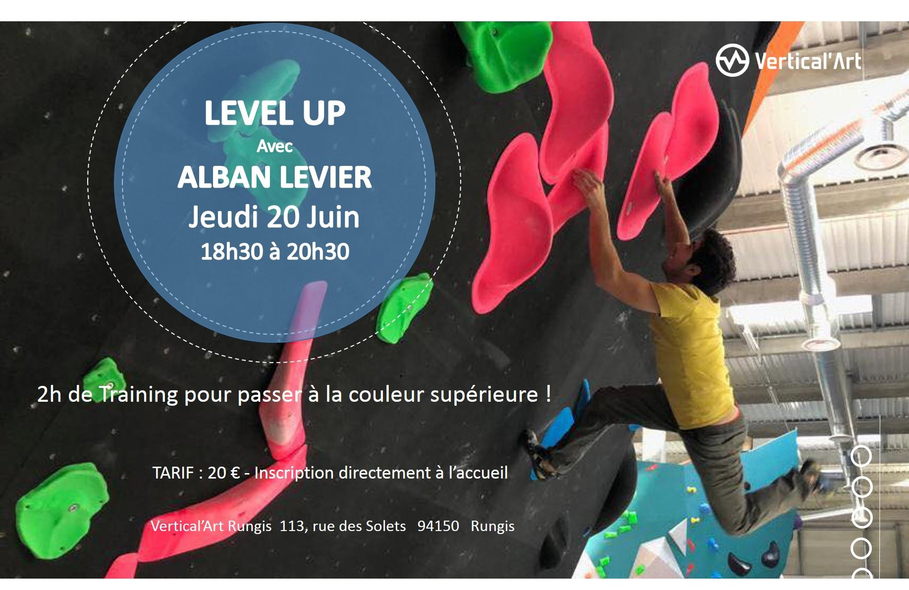 master class avec Alban Levier champion d'escalade de bloc