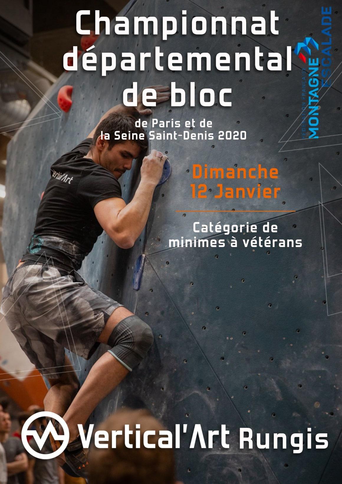 Championnat départemental de Bloc à Vertical'Art Rungis - salle d'escalade de bloc- restaurant et bar - Contest - FFME