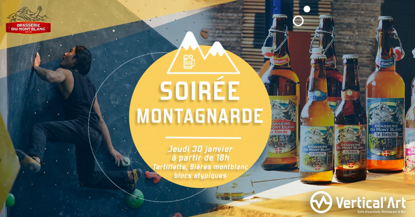 soirée montagnarde à Vertical'art Rungis - salle d'escalade de bloc restaurant et bar