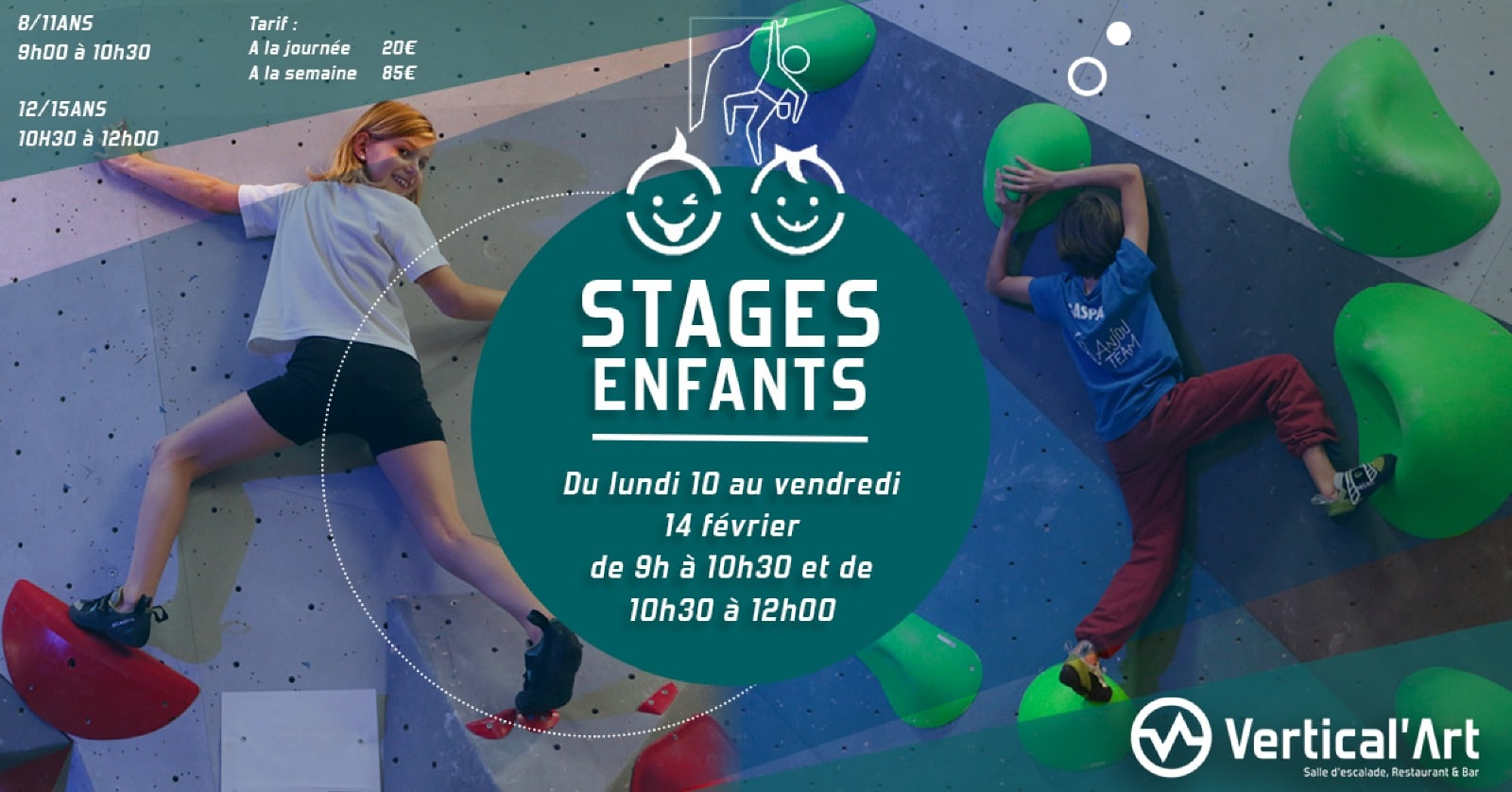 Stages enfants des vacances d'Hiver à vertical'art rungis - VA rungis -Val de marne - Salle d'escalade en Ile de France -Stages d'escalades 8_15ans à Vertical'Art Rungis-