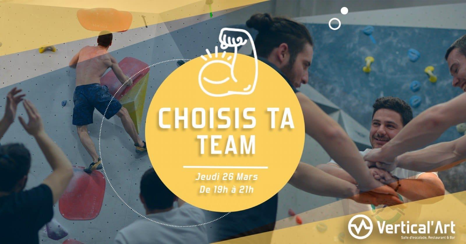 Choisis ta team Vertical'Art Rungis - petit contest en équipe - Val de Marne - Événement signature -