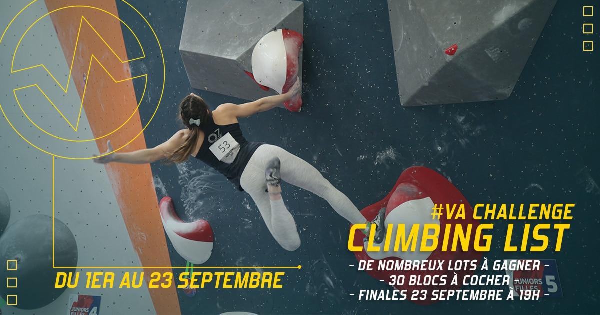 Climbing list du mercredi 1er septembre au jeudi 23 septembre à Vertical'Art Rungis, de nombreux lots sont à gagner