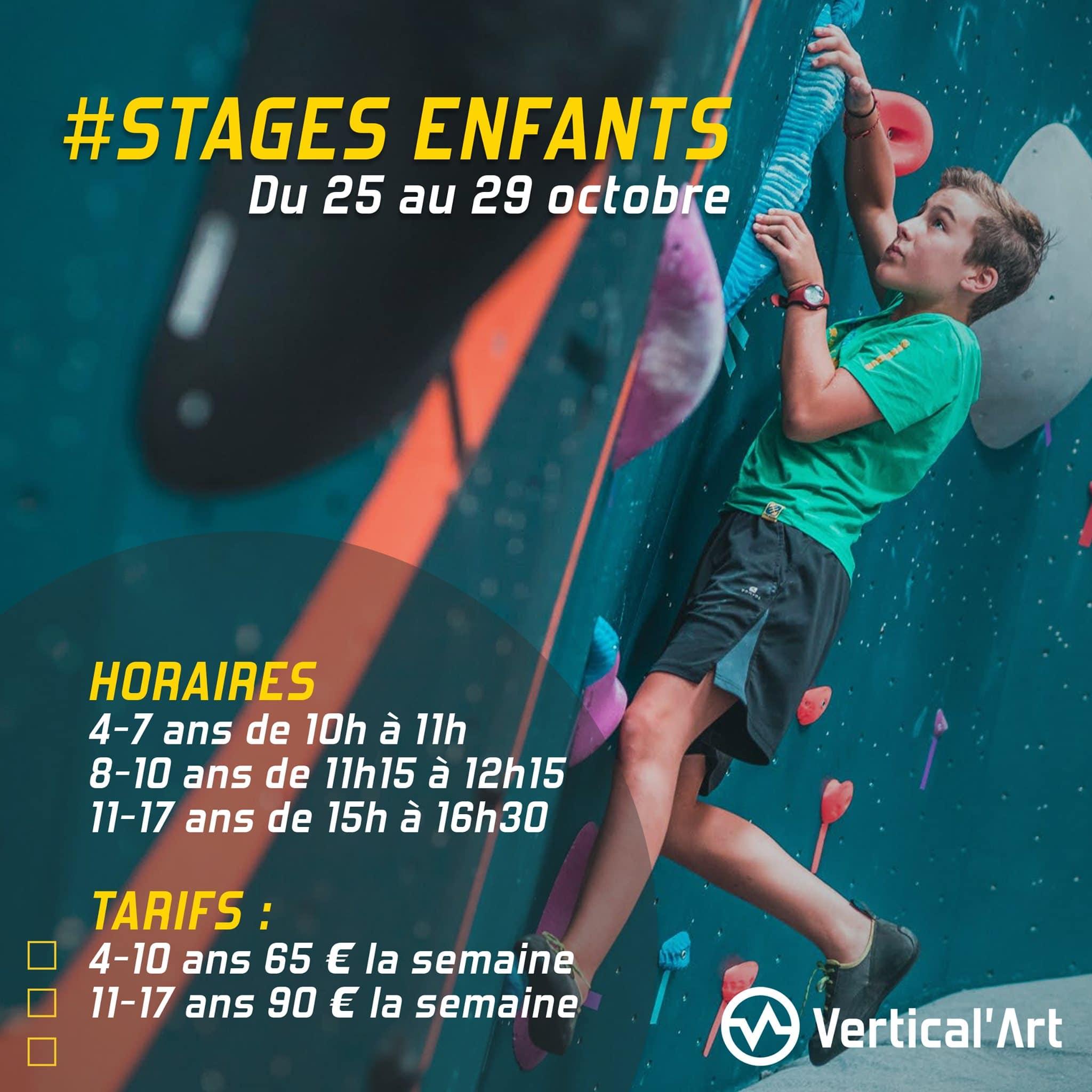 Stages enfants vacances de la Toussaint à Vertical'Art Rungis du 25 au 29 octobre, inscriptions ouvertes
